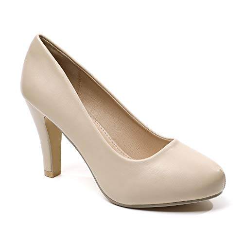 Trary Women's High Heel Dress Platform mp Shoes Women Nude 08