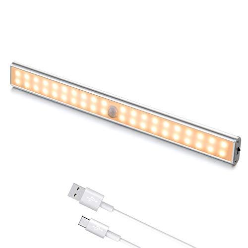 Luz LED con Sensor de Movimiento, Luz Armario 40 LED con Tira Magnética, Recargable Luz LED Adhesiva, Luces para Armarios/Cocina/Escalera/Garaje/Emergencias/Pasillo (1 luz cálida)
