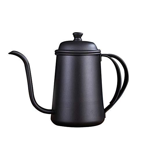 CAheadY 650ml Edelstahl Schwanenhalsauslauf Kaffee Teekanne Wasserkocher Long Mouth Tropf Black