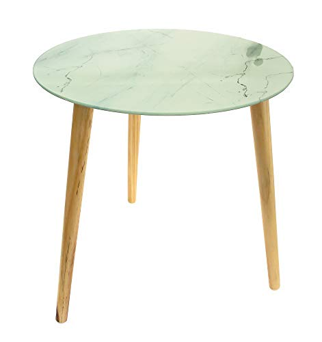 TU Unique Trend Round Glass Side Table with Three Wooden Legs, Coffee Table Ideal for any corner of your home