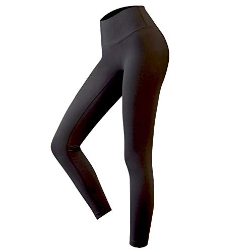 B/H Respirant Casual Leggings De Sport Yoga,Pantalon de Yoga Extensible Taille Haute de Couleur Unie, Pantalon de Course Mince et Confortable-Black_S