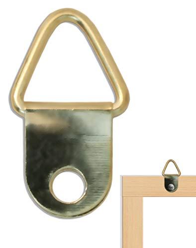 FUXXER® - 100x schilderijhaken metalen haken, messing, voor schilderijlijsten, spiegels, Pinwand, driehoekige haak met oogje, messing Gold Design 22 x 13 mm, 100-delige set