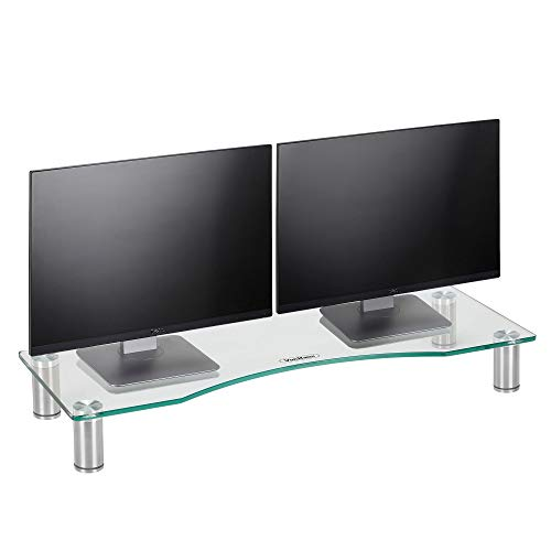 VonHaus Large Monitor Stand for Desks - Height Adjustable - Screen Riser for Computers, Laptops & TVs - Clear Curved Glass with Aluminium Legs - 70 x 24cm