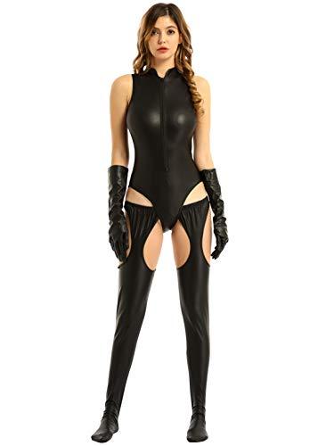 FEESHOW Damen Lack Leder Body Jumpsuit Latex Catsuit offener Schritt Strumpfhose Hose Frauen Versuchung Party Clubwear Erotik Reizwäsche Schwarz M
