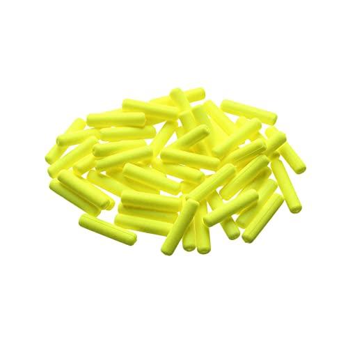 PJRYC 50 unids/Bolsa de Peso Ligero Espuma de Cilindro flotadores de Bola óvalo flotadores de Cuentas Indicador de Peces Frijoles Plataforma Material de Pesca de Carpa Accesorios (Color : Yellow S)