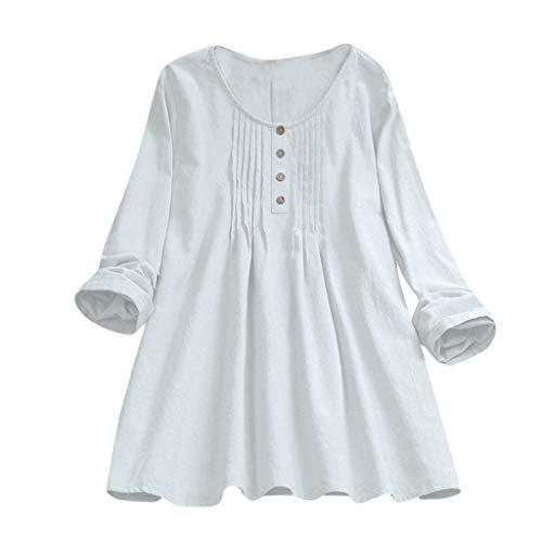 TUDUZ Blusas Mujer Manga Larga Tops Lino Camisas Raya Botón Camisetas Talla Extra