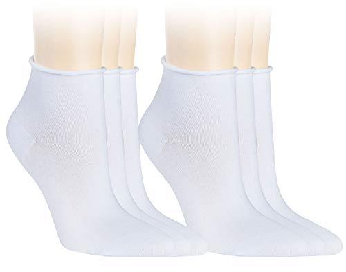 Vitasox 15265 Damen Socken Kurzsocken Rollrand einfarbig Weiß 6er Paar 35/38