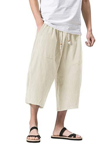 MAGNIVIT Men's Casual Baggy Cotton Linen Lounge Harem Pants Beach Long Shorts Beige 36