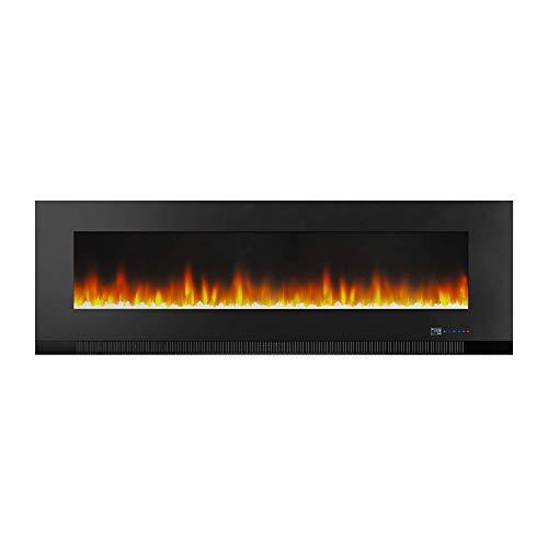 Amazon Basics – Chimenea eléctrica multicolor de 152cm, para montaje en pared, con iluminación LED 3D, con control remoto, 1300W
