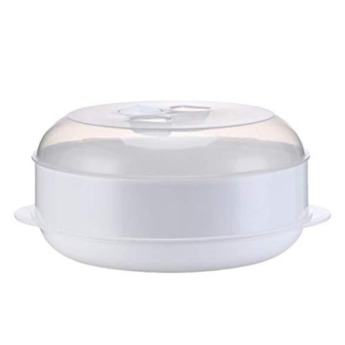 Hemoton Canasta de Vapor para Microondas Vaporera Multifunción para Microondas con Tapa Vaporera para Verduras Carne de Pescado (Una Capa)