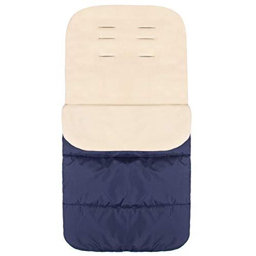 SPRINGOS Saco de invierno 85 x 45 cm, saco universal para cochecito, trineo, impermeable, cálido, forro polar (azul oscuro y crema)