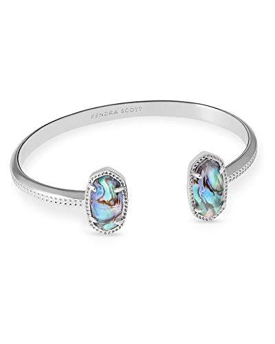 Kendra Scott Elton Cuff Bracelet for Women, Fashion Jewelry, Rhodium-Plated, Abalone Shell