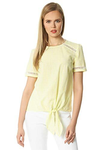 Roman Originals dames top met Vichy-ruit om te binden voor - dames casual elegant T-shirts, tops, alledag, vakantie, ruiten, ronde hals, korte mouwen