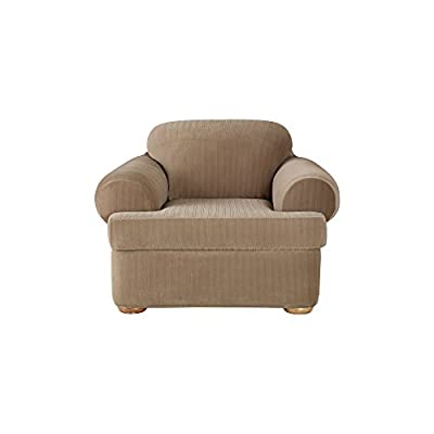 SureFit Stretch Pinstripe T-Cushion Chair Two Piece Slipcover, Form Fit, Polyester/Spandex, Machine Washable, Taupe Color