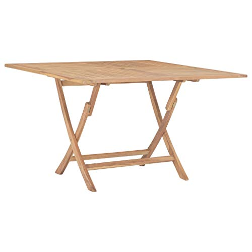 VidaXL Table de jardin pliante en teck massif 120 x 120 x 75 cm
