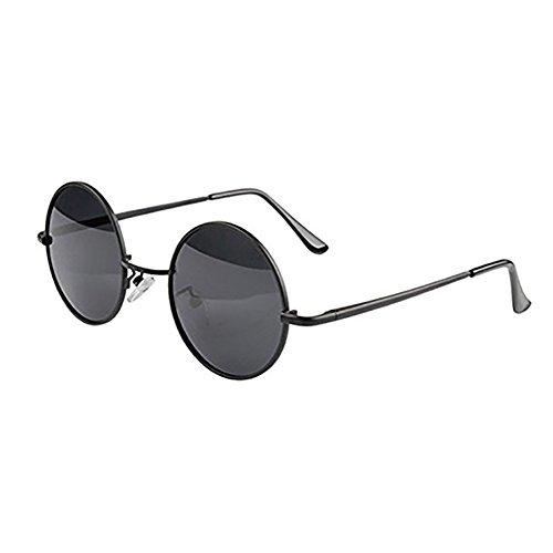Sonnenbrille, runde Sonnenbrille mit kleinem Metallrahmen, 100% UV-Schutz 400 (schwarz)
