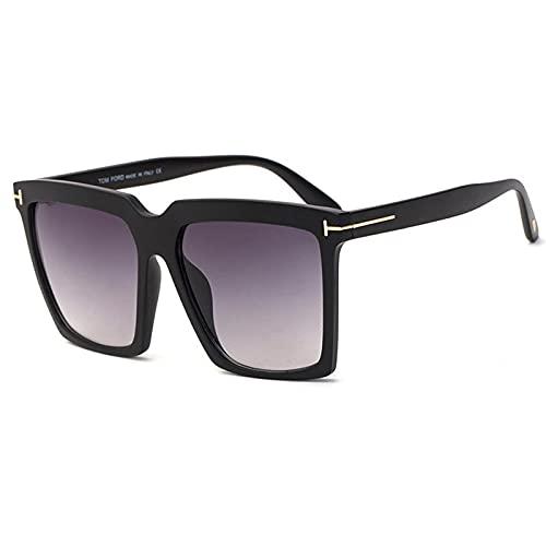 Gafas De Sol Gafas De Sol Cuadradas con Montura Grande para Mujer Y Hombre, Gafas De Sol con Parte Superior Plana De Gran Tamaño Vintage, Gafas De Sol Uv400 para Hombre, Gafas C5Matteblack-Grey