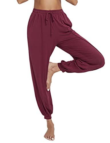 Sykooria Pantalones Bombacho Deportivos Mujer Verano de Modal Algodón Pantalones Largos de Yoga con Bolsillos & Cordón Pantalón de Harem Cintura Alta Pilates Baile Jogger Casa para Ejercicio Ocio