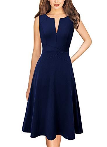 Elegante vestido VFSHOW acampanado con cierre para mujer para trabajo, oficina, fiesta, Moderno / Equipada, XXL, Rayas azul marino y blanco.
