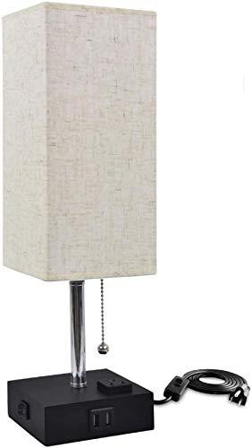 QTWW Lámpara de mesita de Noche Moderna con Interruptor de Cadena de tracción Luz de Lectura para Escritorio de Dormitorio con 2 Puertos de Carga USB Iluminación de Escritorio de Lino Minimalista