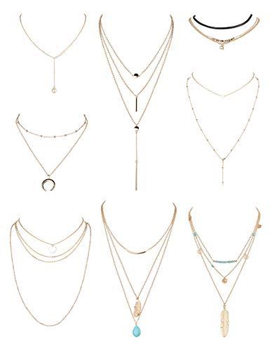 YADOCA 8-13 Unids Collar Largo Mujer Niñas Moda Sexy Gargantilla Larga Cadena Y Collar Doble Bar Pluma Collar Colgante Conjuntos Tono Dorado y Plateado