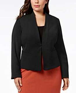 NINE WEST Womens Black Kiss Front Jacket Plus US Size: 24W