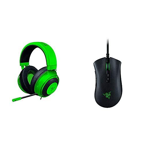 Razer Kraken Gaming Headset Le Cuffie Cablate Per Il Gaming Multipiattaforma Per Pc, Ps4, Xbox One + Switch & Deathadder V2 - Usb Mouse Da Gaming Cablato Dall Ergonomia All Avanguardia Per Pc