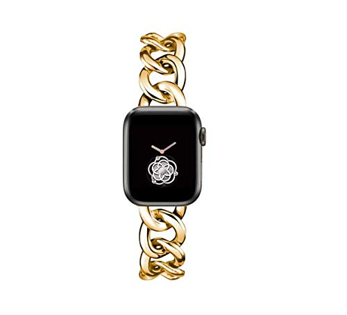 44mm Gold Cool Chain Metal Bands for Women Apple Watch Bands SE Series 5 Series6 42mm Man Replacemnet Band for Iwatch SE Series 6/5/4/3/2/1