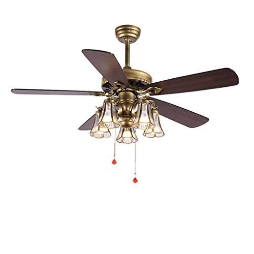 Ventilador de Techo Techo de América luces Fan Control Remoto 5 5 Hojas de cristal de cobre Edge Pantalla LED de silencio de atenuación de faros, 42 '/ 52' Ventiladores Para el Techo ( tamaño : 52in )