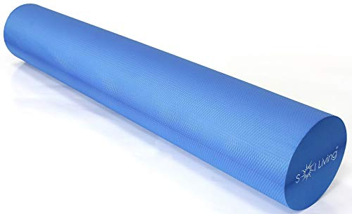 Sol Living High-Density Foam Roller - for Muscular Relaxation, Workouts & Physical Therapy - Stretch, Massage and Relieve Tension in Muscles - Firm & Durable - Blue, 36' x 6'