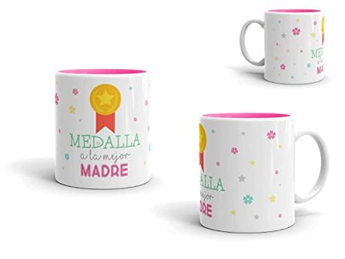 Lote de 5 Originales Tazas Desayuno de Cerámica 'Medalla a la Mejor Madre'. Recuerdos. Vajillas. Regalos para Fiestas, Navidad, Reyes,, Bodas, Bautizos y Comuniones. DC