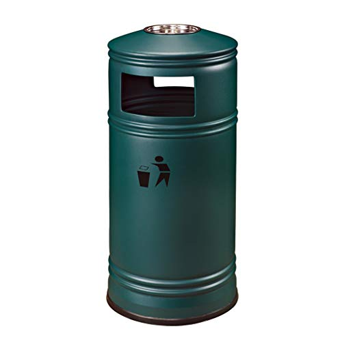 Corbeille en métal de style hong Kong en plein air peut grande poubelle verticale cendrier cylindre peut hôtel créative (Color : Green)
