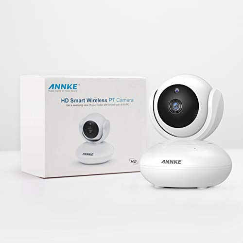 ANNKE 1080P Home Security Camera, Smart Wireless WiFi Pan/Tilt IP Camera with Night Vision, App Alarm Push, Two-Way Audio, Supports 64 GB TF Card, Cloud Storage, Works with Alexa Echo Show (White)