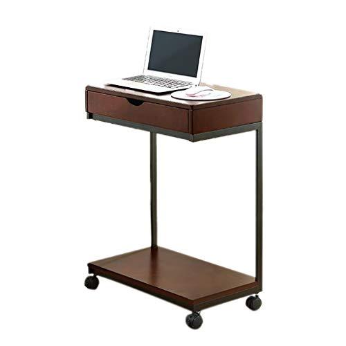 PLHMS 2 dieren industriële opbergwagen, mobiel koffie snack bijzettafel bed bijzettafel met lade, laptop-tablet massief houten look meubel met metalen frame