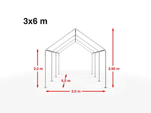 TOOLPORT Hochwertiges Partyzelt 3x6 m Pavillon Zelt ca. 240g/m² PE Plane Gartenzelt Festzelt Wasserdicht weiß - 2