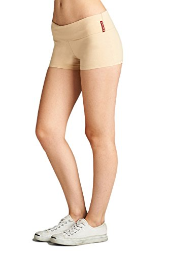 Emmalise Women's Active Yoga Shorts Low Rise Fold Over Workout Dance Pant (Small, Khaki)