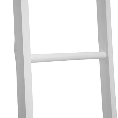 FUIN 6 Ft Wood Wall Leaning Decorative Ladders Shelves Rack for Blanket Quilt Towel Throws Scarves Storage, Rustic Farmhouse Bathroom Bedroom, White