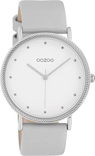 Oozoo Damenuhr Shiny mit Lederband 40 MM Weiß/Silber C10415
