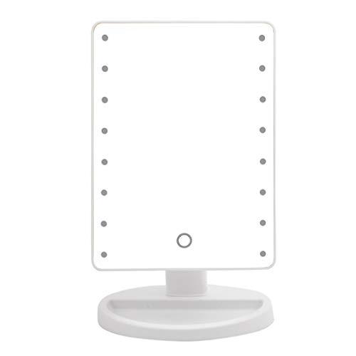 LED Schminkspiegel mit 16 LED Lights Desktop Schminkspiegel Beauty Vanity Spiegel Touchscreen Dimmbare Helligkeit 360 Grad Drehung USB und Batteriebetrieben (Weiß)