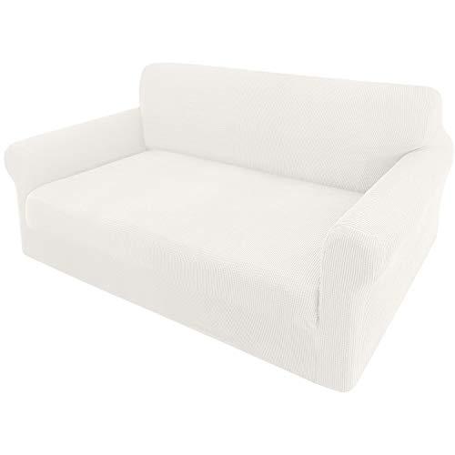 Granbest Sofabezug, dehnbar, Jacquard, 1 Stück, 2-Sitzer, mit Armlehnen, Bezug für Sofa (2-Sitzer, weiß)
