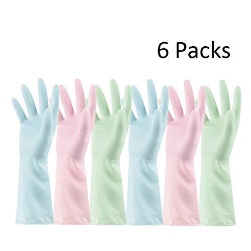 Rubberen handschoenen, washandschoenen, voor het schoonmaken van het wassen van rubberen handschoenen keuken Vaatwasser schoonmaak- 6 Pack Large