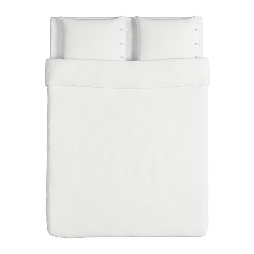 IKEA(イケア) LINBLOMMA ホワイト 200x200/50x60 cm 50190088 掛け布団カバー&枕カバー、ホワイト