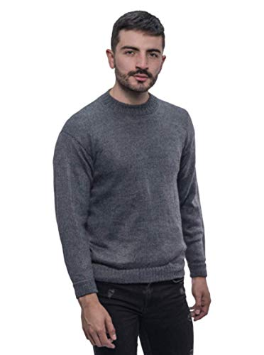 Gamboa - 100% Alpaka - Warm und Weich - Klassischer Pullover - Herren - Grau