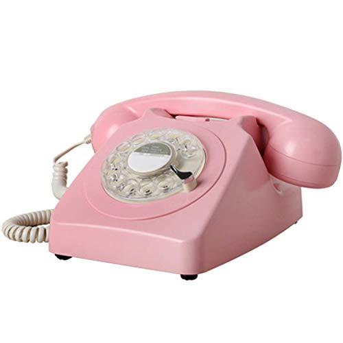 HAOJON Teléfono clásico de la Vendimia, dial Giratorio Teléfono Antiguo mecánico Tono de Llamada Doble electrónico - Rosa