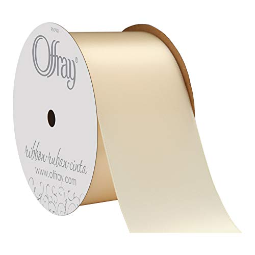 "Offray Berwick 2.25"" Wide Double Face Satin Ribbon, Ivory, 10 Yds"