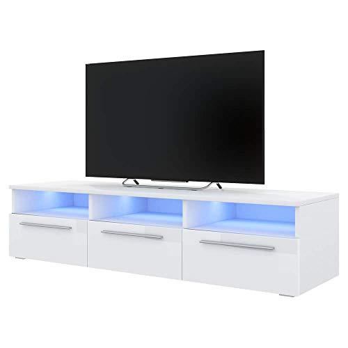 Selsey LAVELLO – TV-Lowboard Stehend in Weiß Matt mit weißen Hochglanz-Fronten und LED-Beleuchtung 140 cm