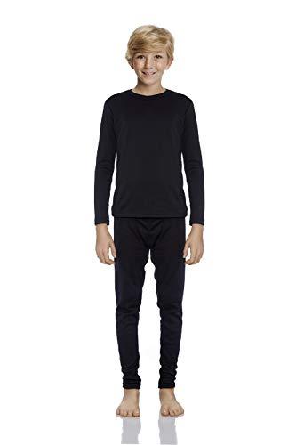 Rocky Thermal Underwear for Boys Cotton Knit Thermals Kids Base Layer Long John Pajamas Set (Black - Small)