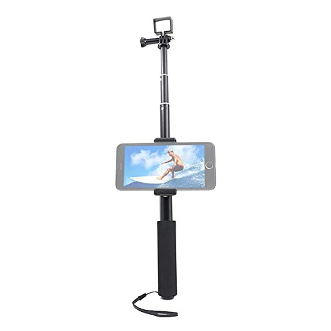 OSMO Pocket Accessories Hyx Multi-Functional Foldable Aluminum Alloy Tripod Holder + Selfie Stick Monopod with Phone Clamp for DJI OSMO Pocket, Length: 30-94cm (Color : Black)