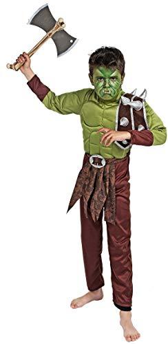 Gojoy Shop- Disfraz de Orco para Nios y Nias Halloween,Carnaval. (Contiene : Traje Mono y Hacha Juquete, 4 Tallas Diferentes) (3-4 aos)