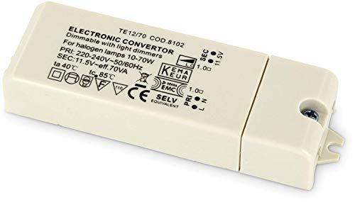 Dimmbarer elektronischer Slim Trafo für Halogen-Leuchtmittel - 230V zu 12V - 10W-70W